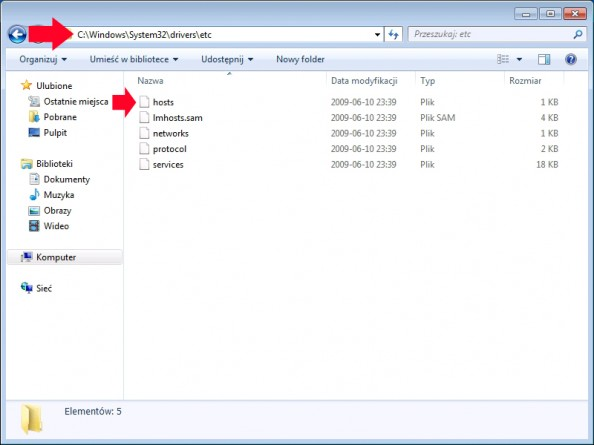 Rysunek 48. Plik host znajdujący się wlokalizacji c:\windows\system32\drivers\etc