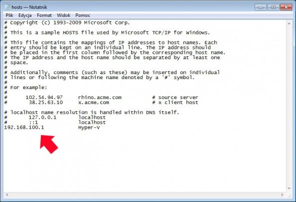 Rysunek 51. Edycja zawartości pliku hosts.