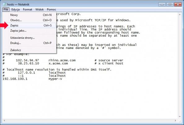 Rysunek 52. Zapisanie naniesionych zmian wpliku hosts.