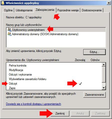 Rysunek 14. Ustawienie zabezpieczeń dla folderu appdeploy.