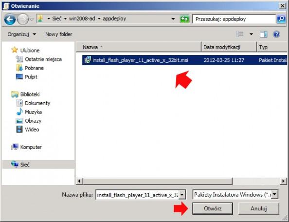 Rysunek 25. Wybór pierwszego pakietu msi, którybędzie instalowany.