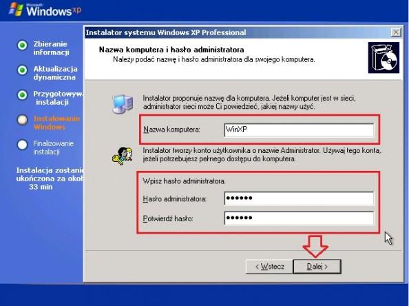 Rysunek 17. Definiowanie nazwy komputera orazhasła administratora.