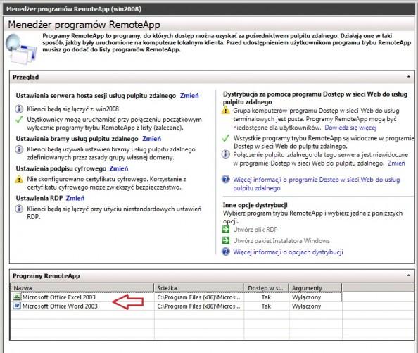 Rysunek 10. Lista udostępnionych programów znajdujących się zakładce RemoteApp.