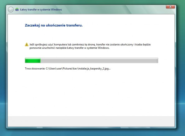 Rysunek 19. Proces przenoszenia plików nanowy komputer został rozpoczęty.
