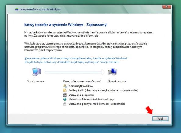 Rysunek 2. Pierwsze okno kreatora Łatwego transferu wsystemie Windows.