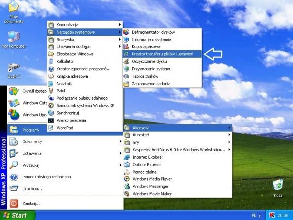Rysunek 1. Kreator transferu ustawień dostępny wsystemie Windows XP