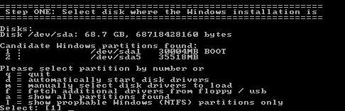Ryunek 4. Wybór partycji zawierającej system Window.