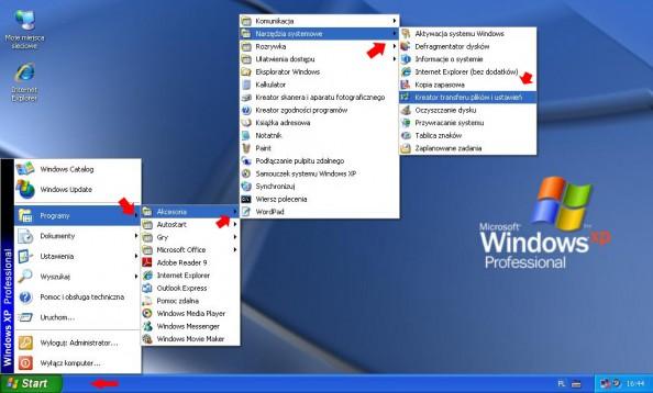 Rysunek 15. Kreator transferu plików iustawień dostępny wsystemie Windows XP.