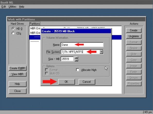 Rysunek 6. Ustawianie nazwy orazsystemu plików.
