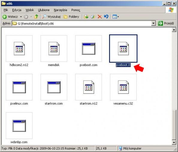 Rysunek 11. Zmiana nazwy pliku pxeboot.n12 napxeboot.0