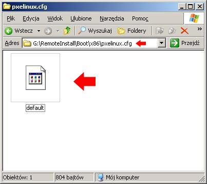 Rysunek 13. Utworzenie wfolderze pxelinux.cfg pliku onazwie default.