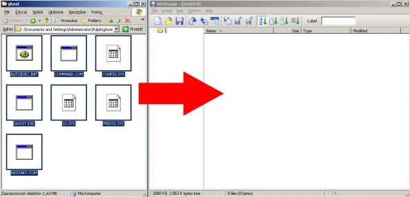 Rysunek 28. Kopiowanie zawartości folderu ghost doprogramu Winimage.