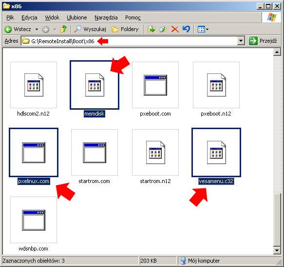 Rysunek 9. Skopiowane pliki dolokalizacji G:\RemoteInstall\Boot\x86