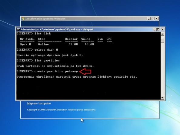 Rysunek 9. Tworzenie partycji podstawowej zapomocą komendy create partition primary.