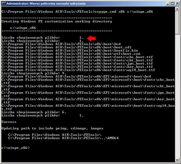 Rysunek 11. Utworzenie folderu winpe_x86 orazskopiowanie doniego zawartości folderu x86.