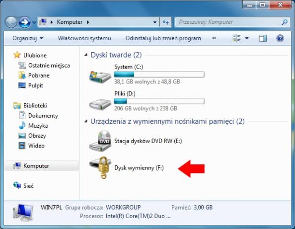 Rysunek 13. Widok zaszyfrowanej pamięci USB.