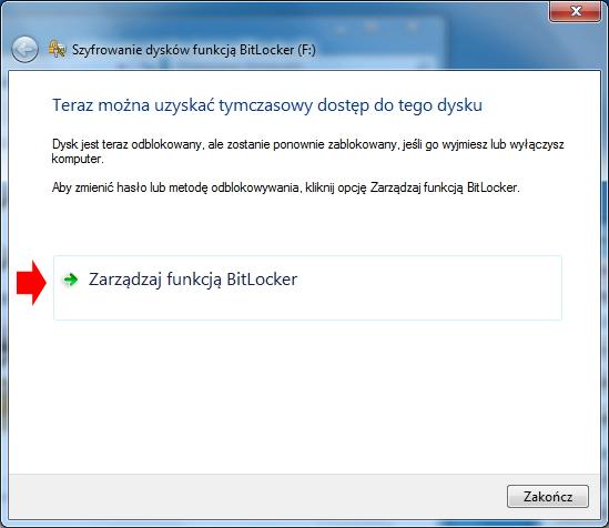 Rysunek 21. Zarządzanie funkcją BitLocker.