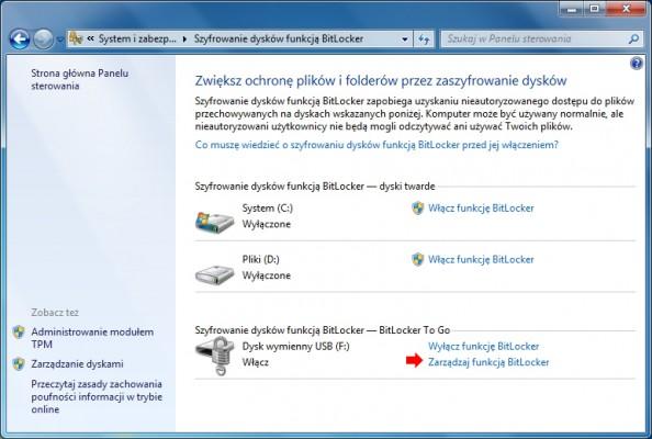 Rysunek 22. Zarządzanie funkcją BitLocker zapomocą Panelu sterowania.