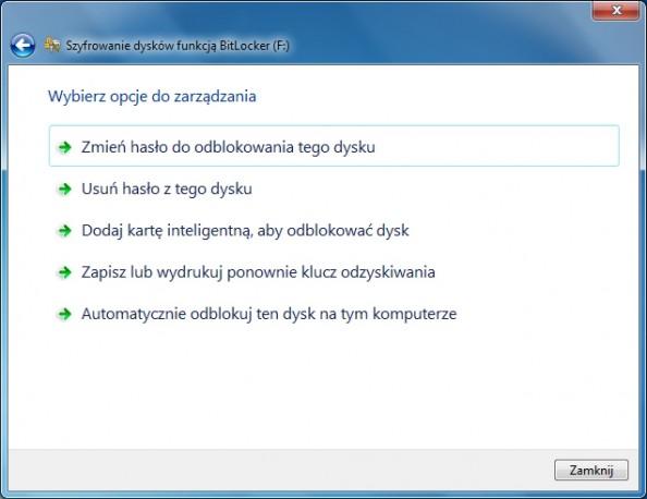 Rysunek 23. Opcje zarządzania funkcją BitLocker.