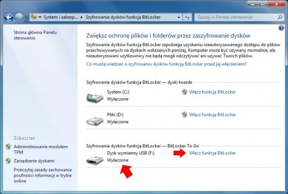 Rysunek 5. Włączanie funkcji BitLocker naniezaszyfrowanym dysku USB.
