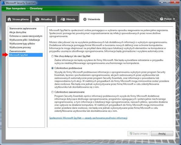 Rysunek 25. Zakładka Microsoft SpyNet.