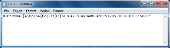 Rysunek 30. Testowy plik virusa Eicar.