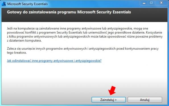 Rysunek 5. Kreator instalacji oprogramowania Microsoft Security Essentials.