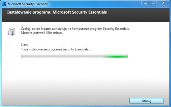 Rysunek 6. Kreator instalacji oprogramowania Microsoft Security Essentials.
