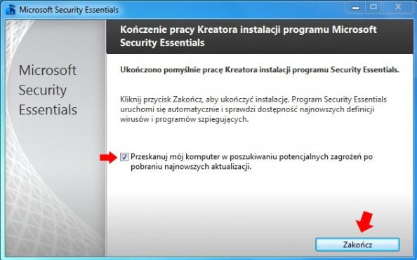 Rysunek 7. Kreator instalacji oprogramowania Microsoft Security Essentials.