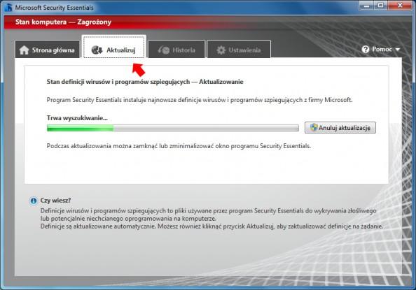 Rysunek 8. Aktualizacja baz wirusów iprogramów antyszpiegujących.