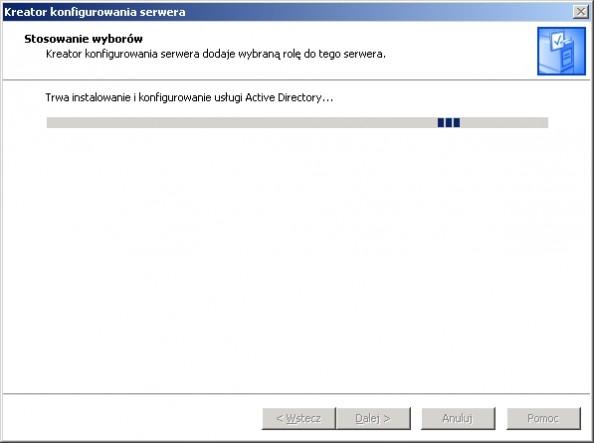 Rysunek 10. Instalacja usługi domenowej Active Directory.