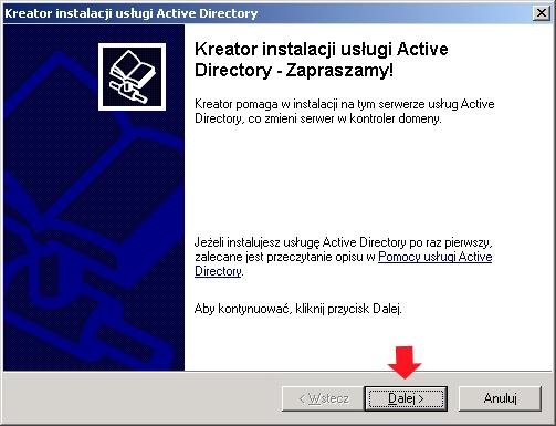 Rysunek 11. Widok kreatora instalacji usług domenowych wActive Directory.