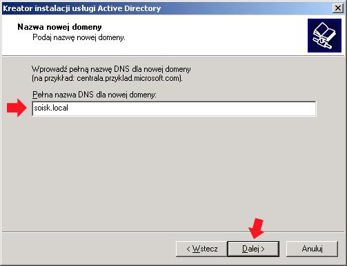 Rysunek 16. Instalacja dodatkowych opcji dla kontrolera domeny.