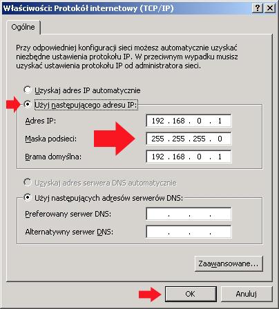 Rysunek 3. Definiowanie adresu ip. maski orazbramy.