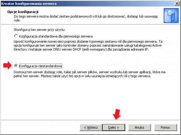 Rysunek 7. Wybór opcji konfiguracji serwera.