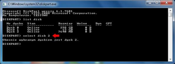 Rysunek 5. Wybór pamięci USB.