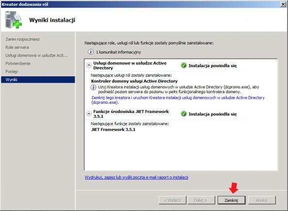 Rysunek 10. Instalacja usługi domenowej Active Directory zakończona pomyślnie.