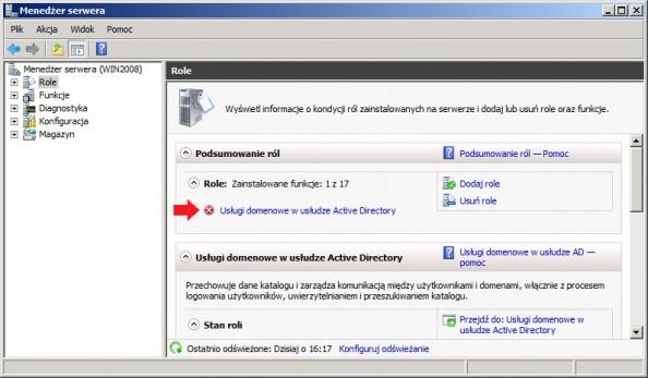 Rysunek 11. Podgląd zainstalowanej usługi domenowej Active Directory.