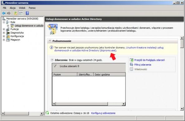 Rysunek 12. Konfigurowanie usługi domenowej zapomocą narzędzia dcpromo.
