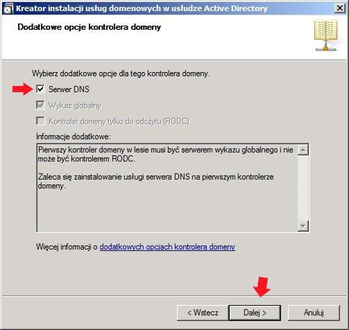 Rysunek 19. Instalacja dodatkowych opcji dla kontrolera domeny.