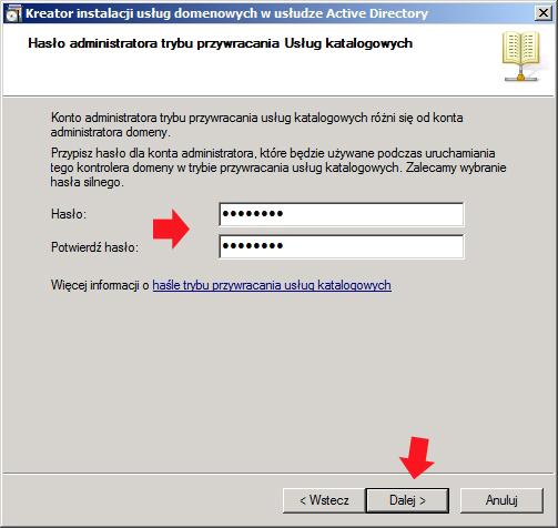 Rysunek 22. Definiowanie hasła administratora trybu przywracania usług katalogowych
