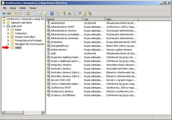 Rysunek 1. Widok okna Użytkownicy ikomputery usługi Active Directory.
