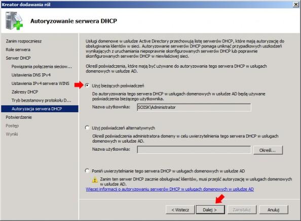 Rysunek 17. Autoryzowanie serwera DHCP wusłudze Active Directory.
