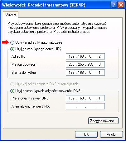 Rysunek 23. Konfiguracja karty sieciowej klienta Windows XP.