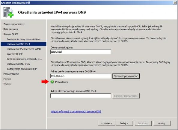 Rysunek 11. Określanie ustawień IPv4 serwera DNS.