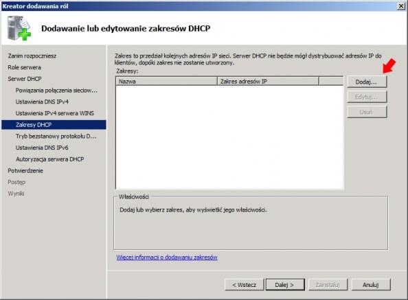 Rysunek 13. Dodawanie zakresów DHCP.