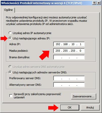 Rysunek 17. Definiowanie adresu IP.