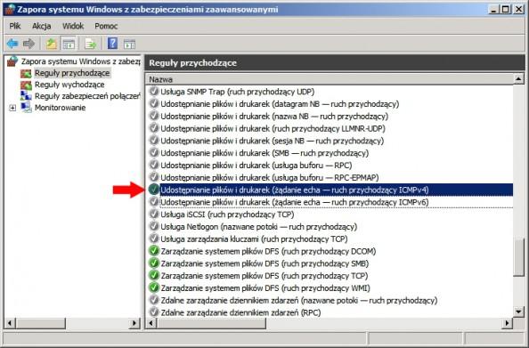 Rysunek 23. Włączanie reguły umożliwiającej odpytanie serwera zapomocą komendy ping.