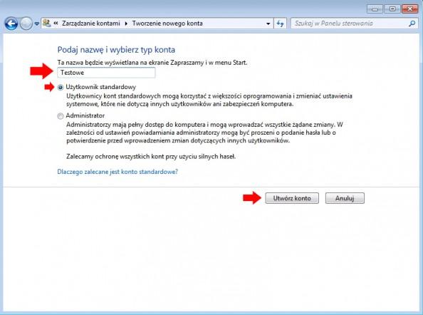Rysunek 4. Definiowanie nazwy użytkownika oraztypu konta.