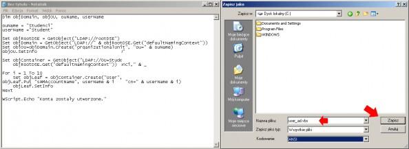 Rysunek 47. Automatyczne tworzenie kilku kont.